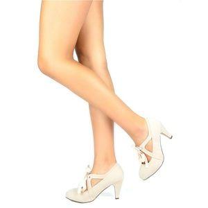 Women's Suede T Strap Oxford Bow Heels Nude Sz 9